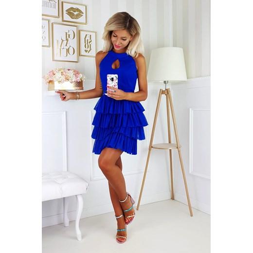 Bicotone sukienka mini Odzież Damska DE niebieski JFDY