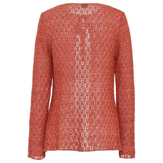 Sweter wiązany w optyce szydełkowego | bonprix Odzież Damska JL czerwony OEMK