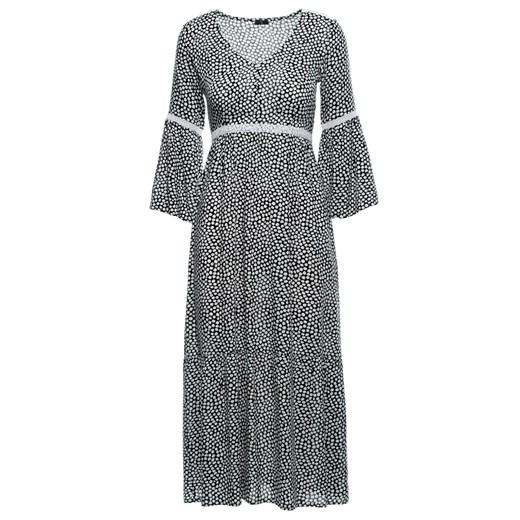 Sukienka Style w kwiaty z dekoltem w literę v z tkaniny Odzież Damska IF szary UPLF