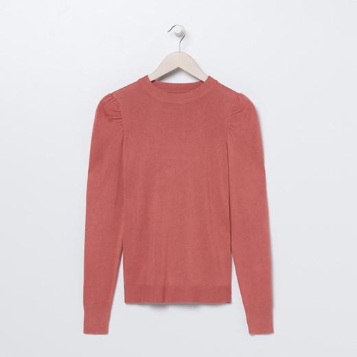 Sweter damski Sinsay z okrągłym dekoltem casualowy Odzież Damska EH różowy DGDO