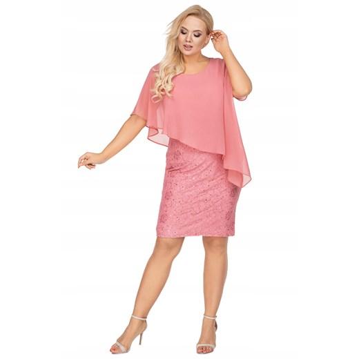 Sukienka dopasowana mini Odzież Damska PA różowy KOBC