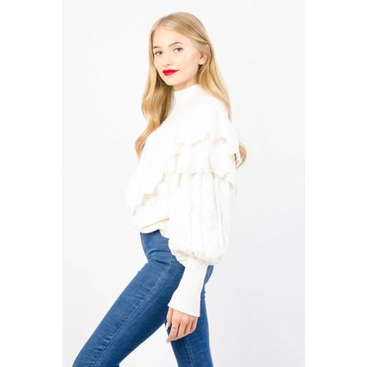 Beżowy sweter damski Olika z okrągłym dekoltem Odzież Damska VU beżowy FKMT