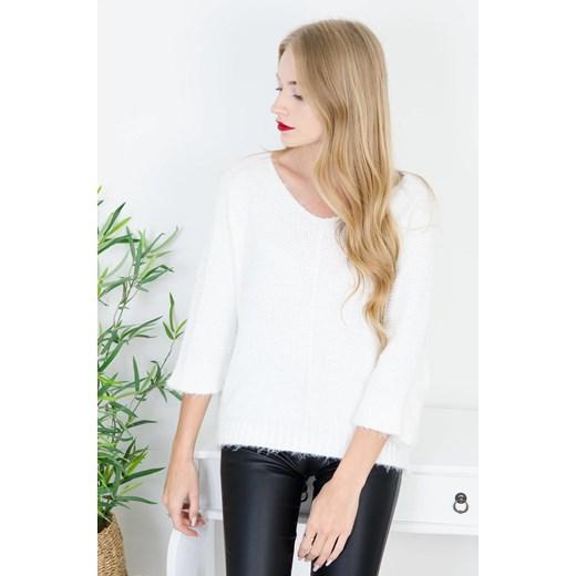 Biały sweter damski Olika bez wzorów Odzież Damska QL biały DDRU