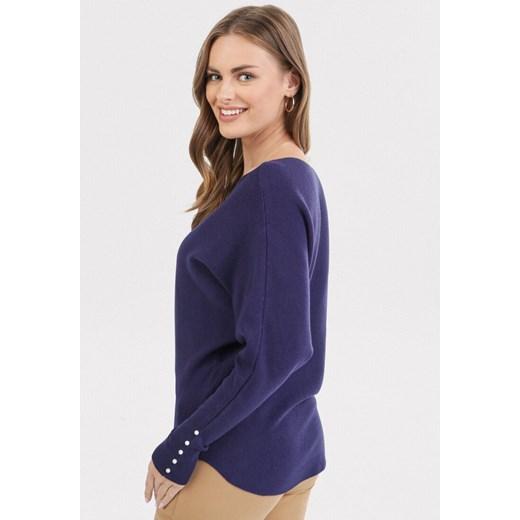 Sweter damski Born2be gładki z okrągłym dekoltem Odzież Damska HZ granatowy DJDJ