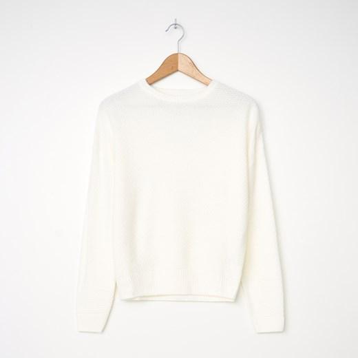 Sweter damski House z okrągłym dekoltem casualowy Odzież Damska ZZ biały GACU