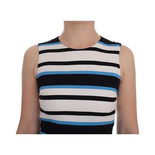 Striped Silk Stretch Sheath Dress Dolce & Gabbana wyprzedaż showroom Odzież Damska JB niebieski QLWQ