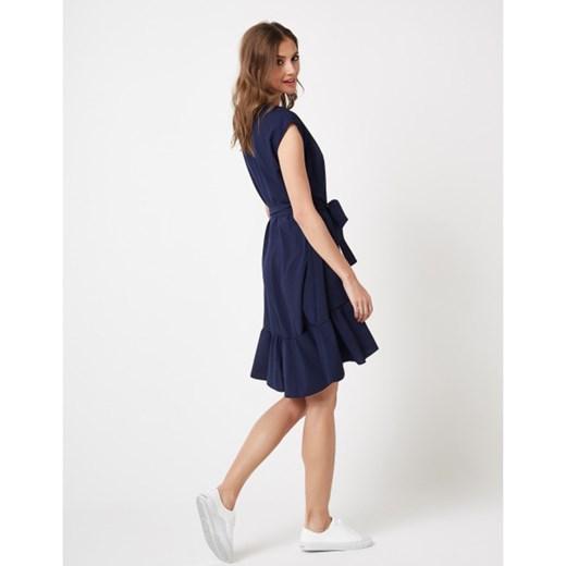 Sukienka wiązana w pasie z falbanami Lumide promocja showroom Odzież Damska VY niebieski FSPE