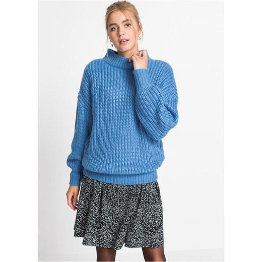 Sweter damski Bonprix casualowy Odzież Damska BD niebieski JVUL