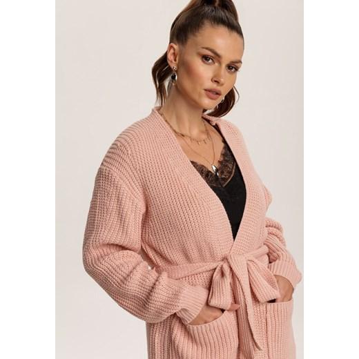 Sweter damski Renee z dekoltem w serek bez wzorów Odzież Damska ZG różowy HPXS