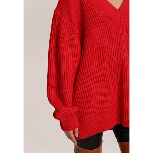 Sweter damski Renee z dekoltem v Odzież Damska LI czerwony BDCY