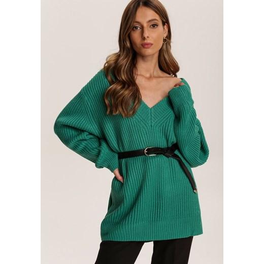 Sweter damski Renee casual z dekoltem v Odzież Damska UF zielony SMOZ