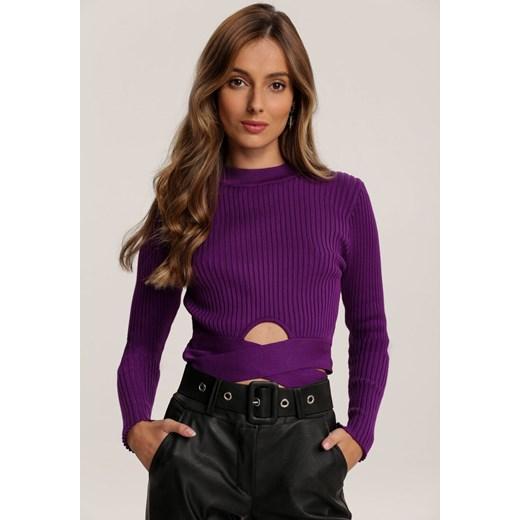 Sweter damski fioletowy Renee Odzież Damska GG fioletowy UEFJ