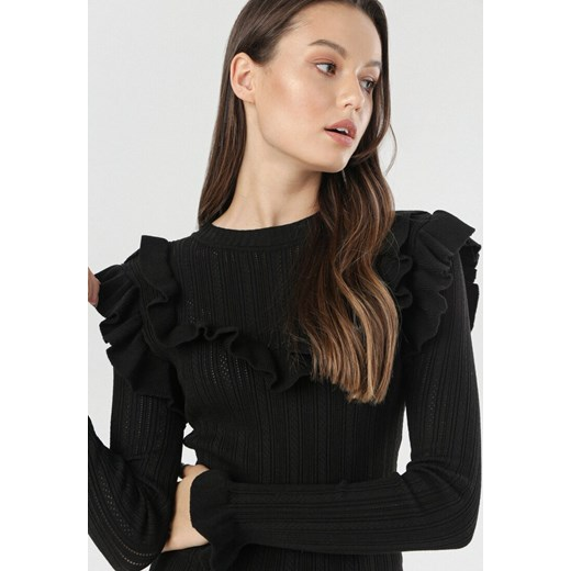 Sweter damski Born2be z okrągłym dekoltem Odzież Damska BG czarny NZIE