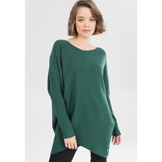 Zielony sweter damski Born2be z okrągłym dekoltem Odzież Damska PH zielony IMPQ