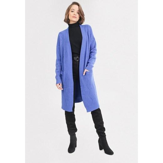 Sweter damski Born2be z dekoltem w literę v Odzież Damska NY niebieski OIGL