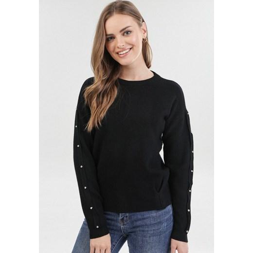 Sweter damski Born2be z okrągłym dekoltem Odzież Damska CQ czarny TGMU