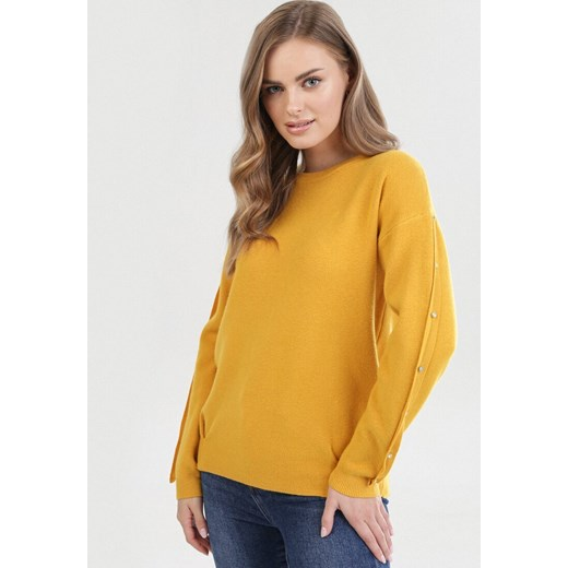Sweter damski Born2be Odzież Damska YS żółty CNUC
