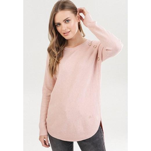Sweter damski Born2be różowy gładki Odzież Damska EL różowy HHIE