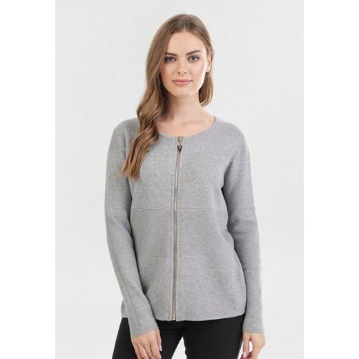 Sweter damski Born2be casual szary z okrągłym dekoltem Odzież Damska OI szary IYGL
