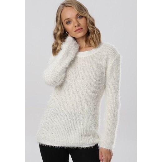 Sweter damski Born2be z okrągłym dekoltem Odzież Damska BT biały ZXQM