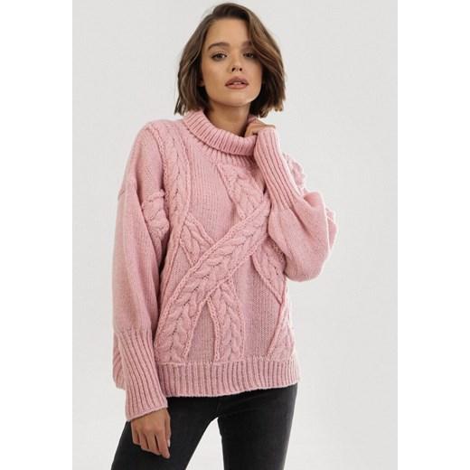 Różowy sweter damski Born2be Odzież Damska QY różowy LQXE