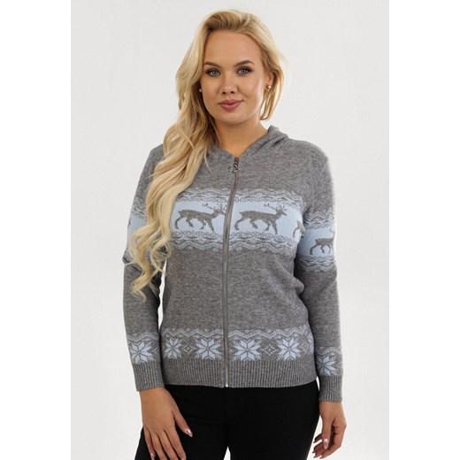 Sweter damski Born2be z okrągłym dekoltem Odzież Damska LJ szary LDEE