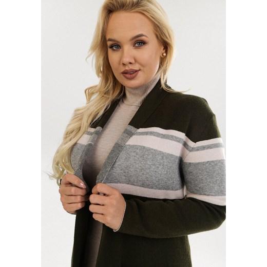 Sweter damski Born2be z dekoltem w serek Odzież Damska DB zielony GVSC