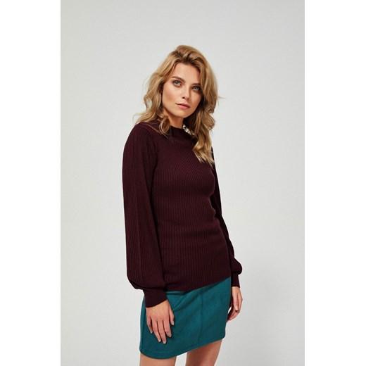Sweter damski z okrągłym dekoltem bez wzorów Odzież Damska JT czerwony FUGQ
