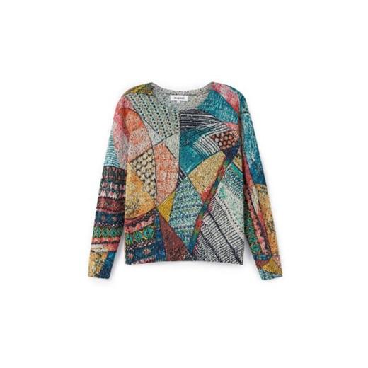 Sweter damski Desigual z okrągłym dekoltem Odzież Damska VA wielokolorowy WERU