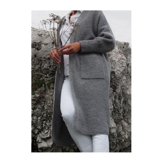 Długi kardigan z kieszeniami Maja, ciemno szary butik-choice Odzież Damska OP FFTF