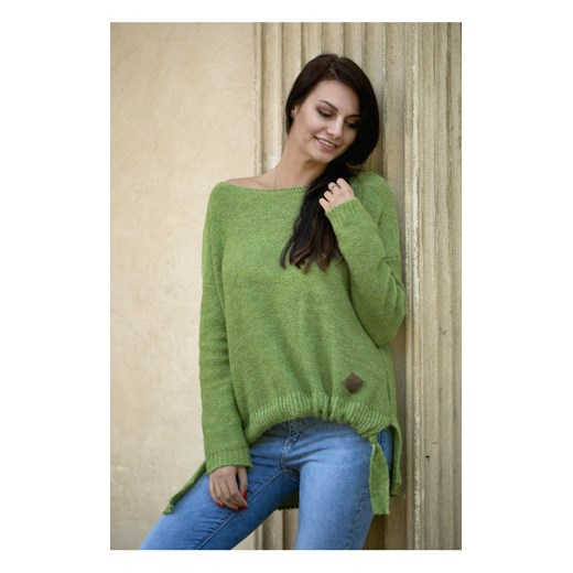 Sweter asymetryczny damski Dari, zielony butik-choice Odzież Damska RD zielony RZKM