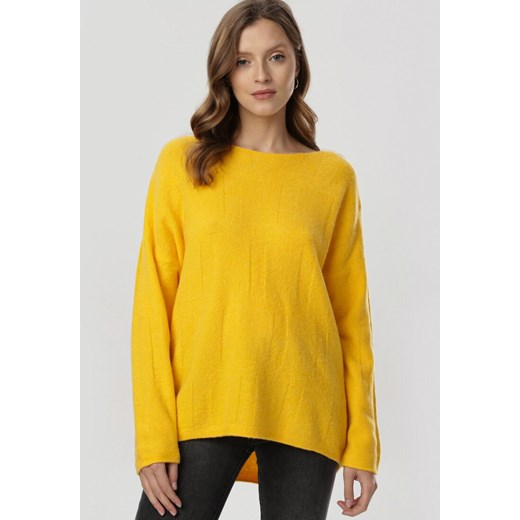 Sweter damski Born2be z okrągłym dekoltem casualowy Odzież Damska LE żółty KUUL