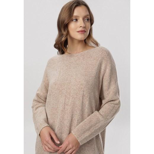 Sweter damski Born2be gładki casualowy Odzież Damska QP beżowy OGMR