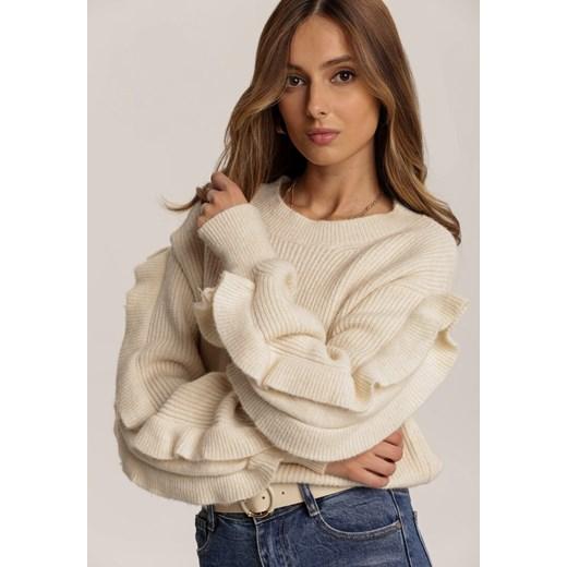 Sweter damski beżowy Renee casualowy Odzież Damska NC beżowy UWFJ