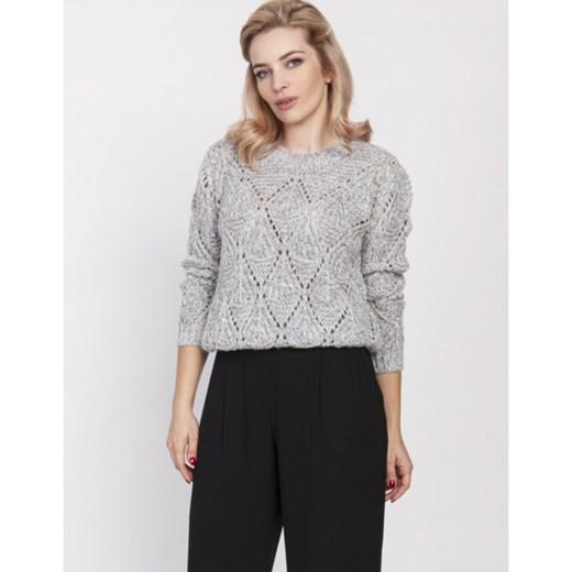 Sweter ażurowy swe185 mkm, swe123 Lanti showroom Odzież Damska KO szary IMIC