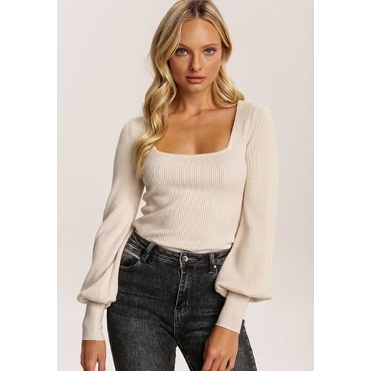 Sweter damski Renee Odzież Damska FG beżowy HOAH