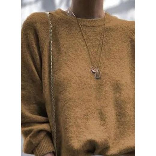 Sweter damski Odzież Damska QK brązowy YEOX