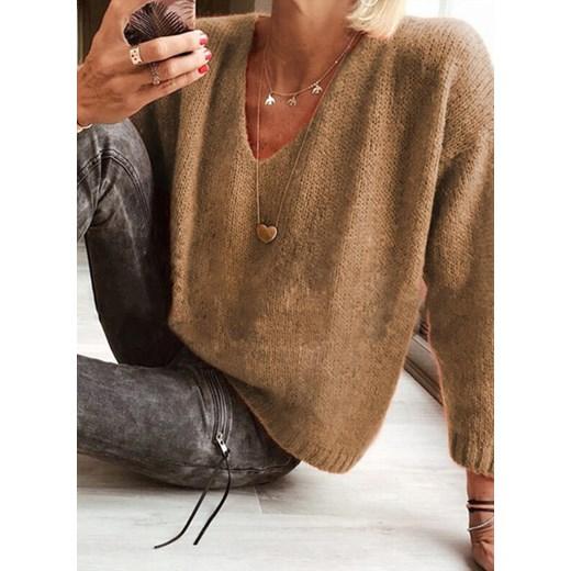 Sweter damski Odzież Damska ON brązowy ZHWL