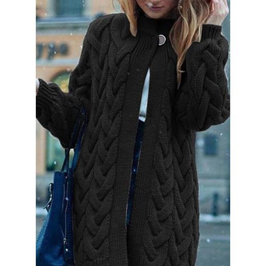 Sweter damski z dekoltem v Odzież Damska ES czarny HHNZ