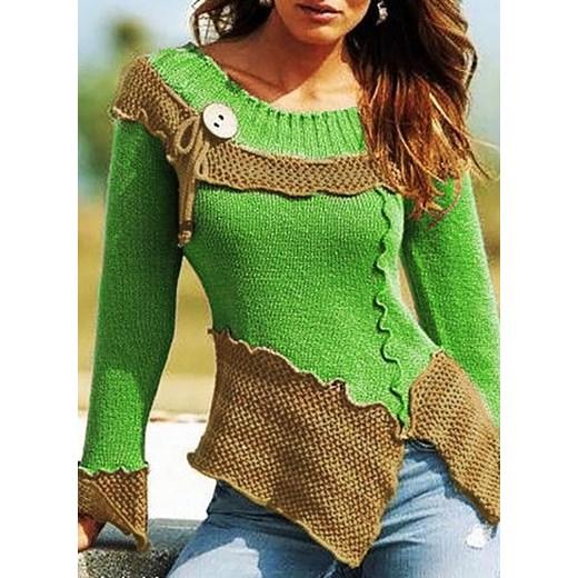 Sweter damski w stylu boho Odzież Damska PO zielony QFYU
