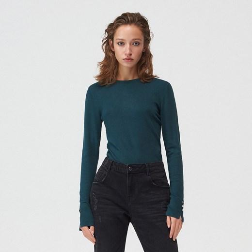 Sweter damski Mohito z okrągłym dekoltem Odzież Damska ZD zielony KRSN