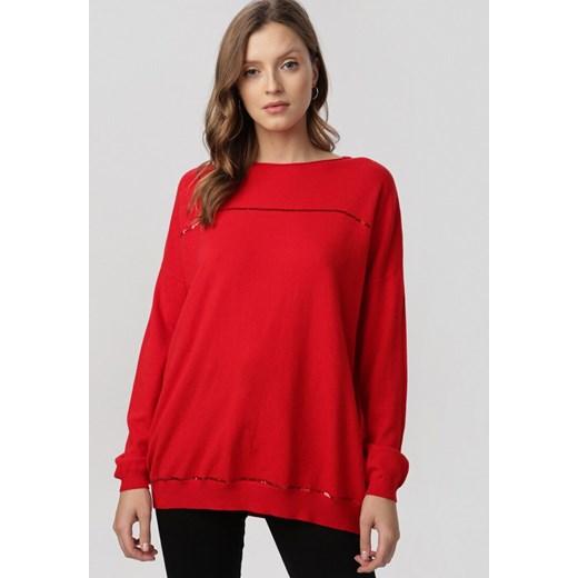 Sweter damski Born2be z okrągłym dekoltem Odzież Damska IR czerwony SLOP