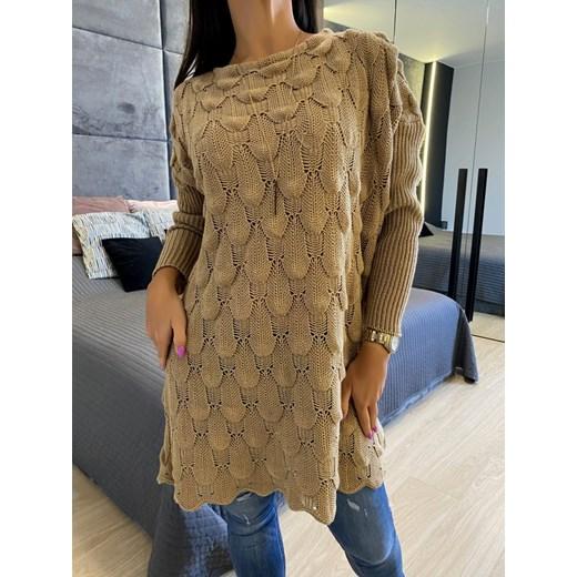 Brązowy Sweter Oversize 5113-24-C Modnakiecka Odzież Damska TC TVVJ