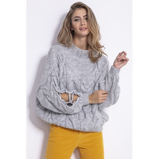 Sweter damski Fobya z okrągłym dekoltem Odzież Damska JP szary WOMQ
