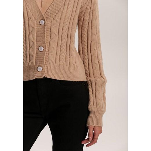 Sweter damski Renee z dekoltem w literę v bez wzorów Odzież Damska CT beżowy YNGA