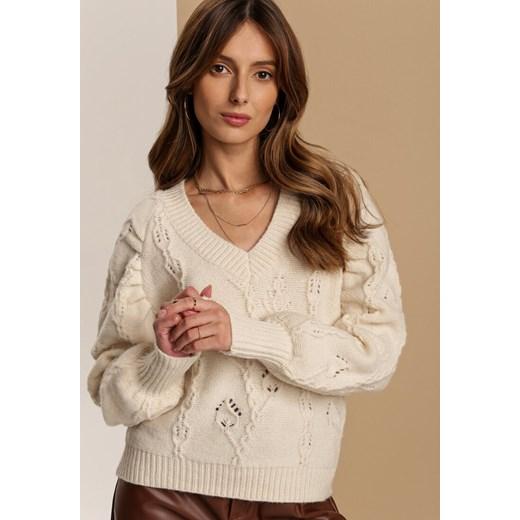Sweter damski Renee casualowy Odzież Damska BM beżowy JZVU