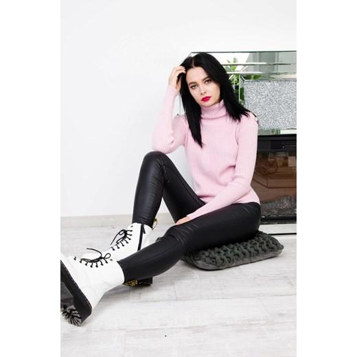 Sweter damski różowy Olika bez wzorów Odzież Damska NI różowy JVBS