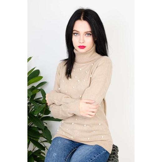 Sweter damski beżowy Olika Odzież Damska PF beżowy HSBM