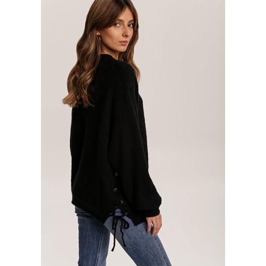 Sweter damski Renee gładki z okrągłym dekoltem Odzież Damska JJ czarny BEPH