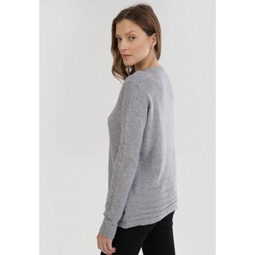 Sweter damski Born2be z okrągłym dekoltem Odzież Damska SX szary LEBH
